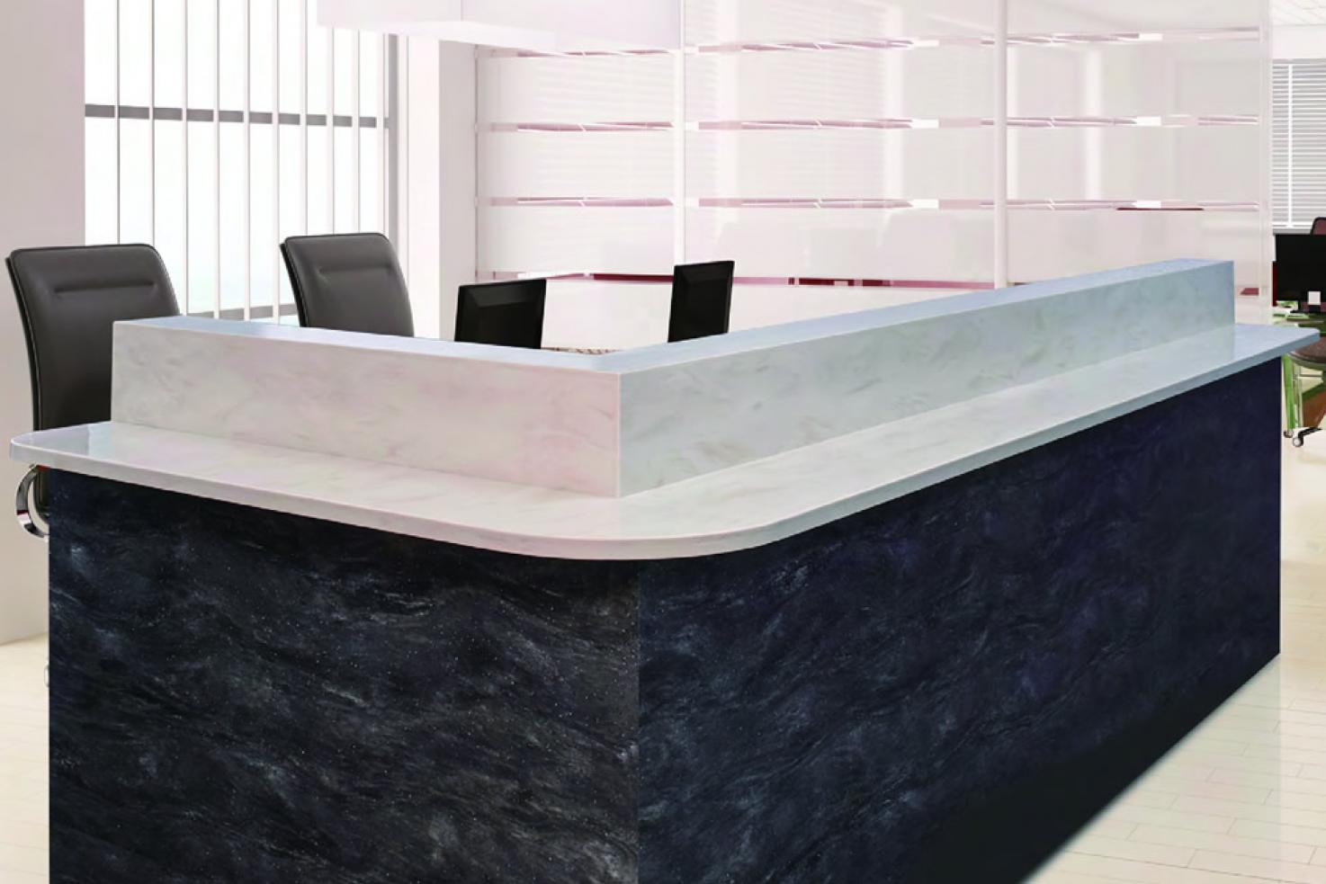 solid surface reception desk Hanex Commercial reception desk full cladding
